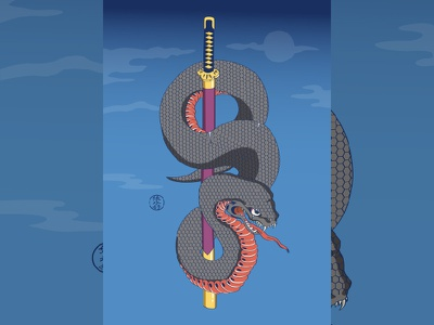 Snake of ukiyoe snake artwork 浮世绘 ukiyoe 浮世絵 japanese culture art japanese art japan illustration