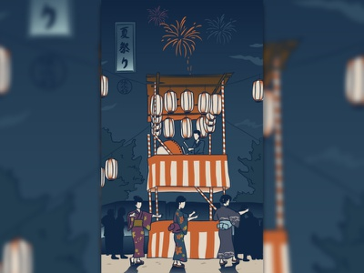 Summer moon summer japanese culture art 浮世绘 浮世絵 ukiyoe japan japanese art illustration