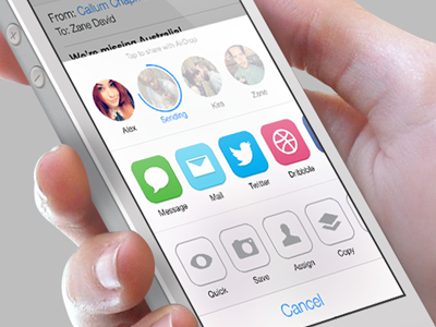 iOS7 AirDrop/Share Redesign ios ios7 redesign airdrop flat iphone iphone5 circles app icons mobile design share