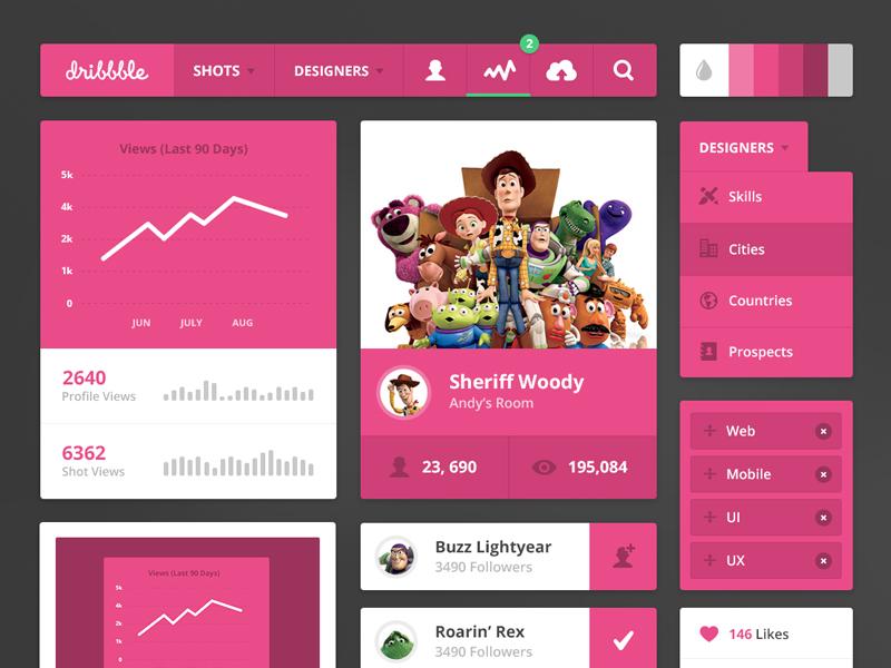 Dribbble UI Kit & 2 Invites! ui kit dribbble pink ux stats simple flat invite invites