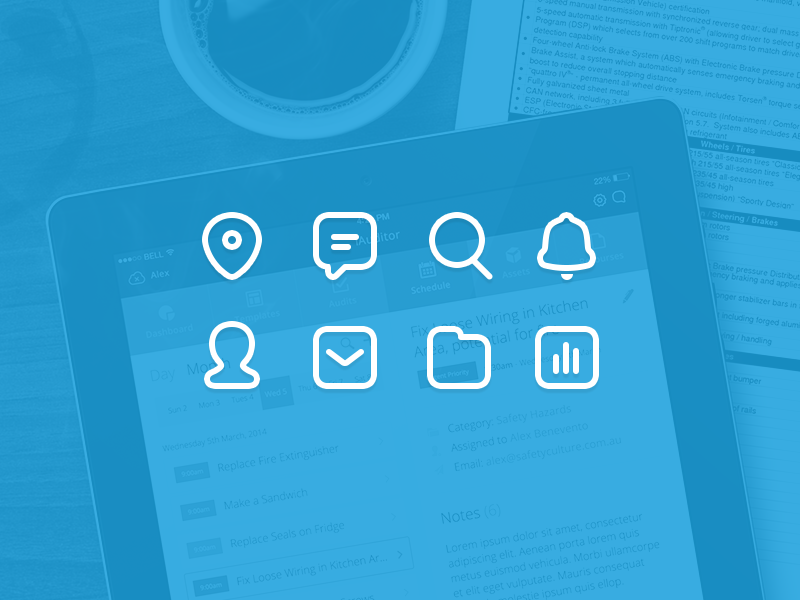 Icons icons document clean minimal location search folder dashboard set