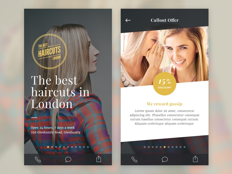 Business Template app template iphone ui ux hair offer ios mobile