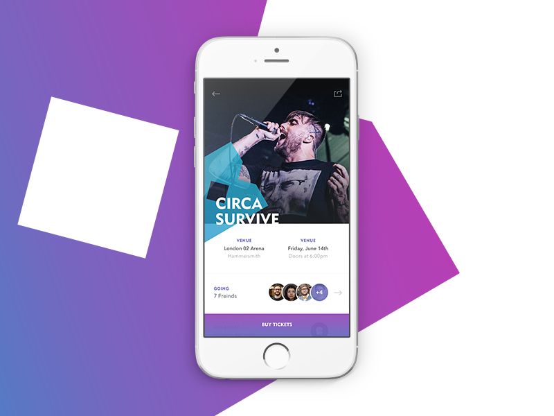 Bringz Event Page brand bringz social flat gradient event music app iphone