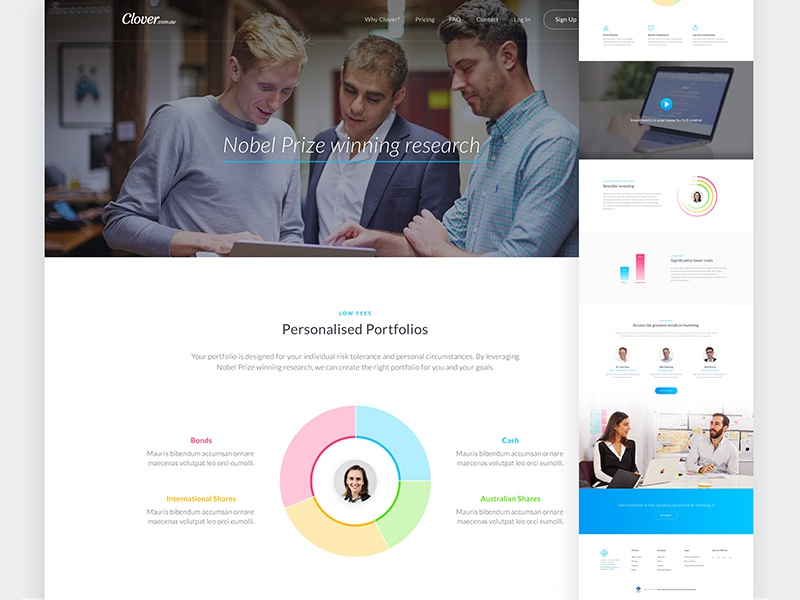 Clover - Strategy Page chart website marketing strategy investment finance startup