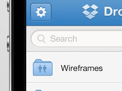 Dropbox App Re-Skin dropbox iphone app skin ios ui blue folders list search