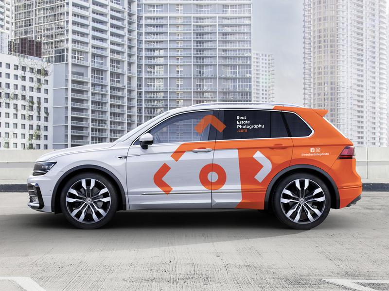 Vehicle Wrap - Real Estate Photography car logo orange real estate photography wrap vinyl