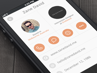 Profile Sreen ui ux app profile screen photo display grid circle circles orange info details tab menu light iphone mobile