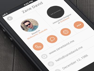 Profile Sreen ui ux app profile screen photo display grid circle circles orange info details tab menu light iphone mobile
