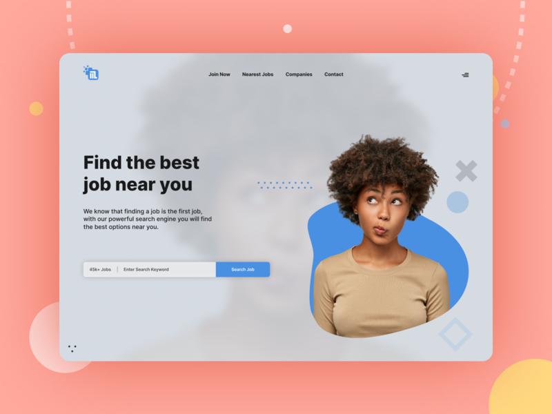 Tech Job Hero blur jobfinder jobs in india jobsite jobs job search minimal modern dribbble typography website web ux design ui