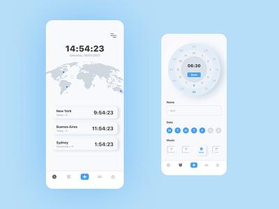 Alarm App Design alarm clock minimal blue app ios alarm