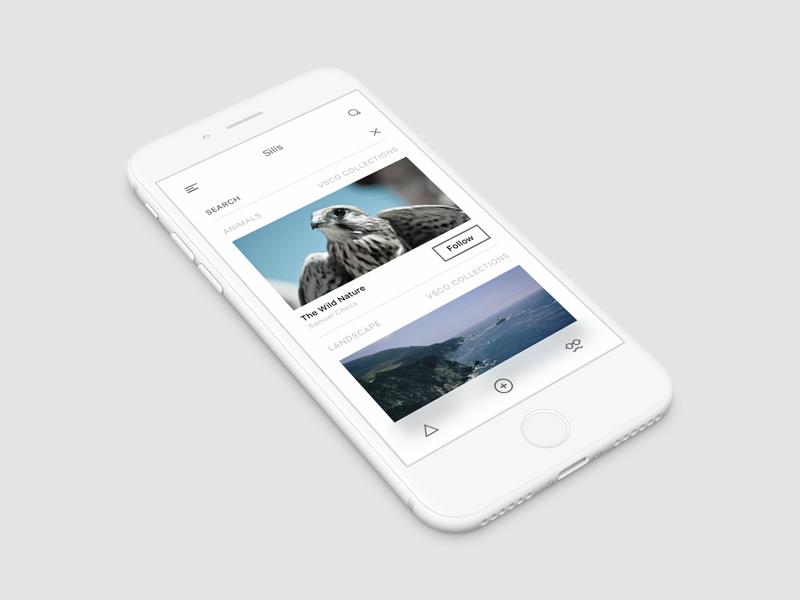 VSCO Redesigned dark interface iphone ios minimal vsco ux ui black white