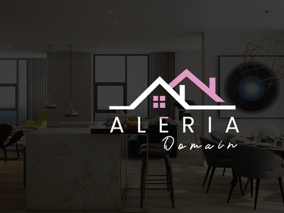 Logo Design for Aleria domain real estate agency illustration logo real estate logo construction logo houselogo logo design