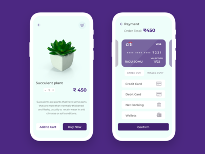 Checkout page for online plant selling app