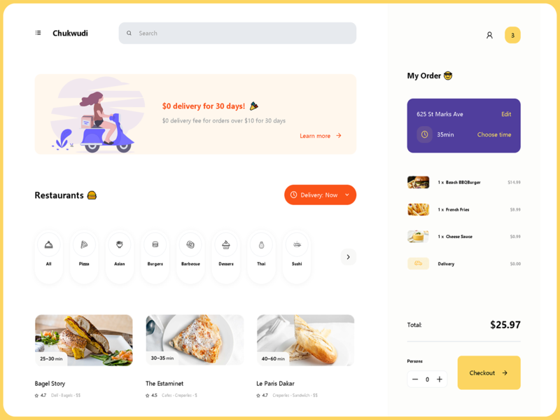 Dashboard - Food Delivery codepen css web design web ux ui product design platform menu illustraion graphics food ecommerce dish design delivery dashboard cart buy