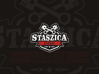 Garage pistons service branding garage auto car workshop