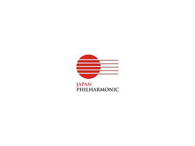 Japan Philharmonic creative modern japan guitar branding music logo