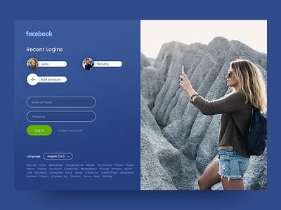 Facebook Log In page simple flat clean branding art website web ux ui design