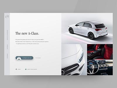 Mercdes Benz A-Class web ux ui redesign minimal flat design concept car branding app