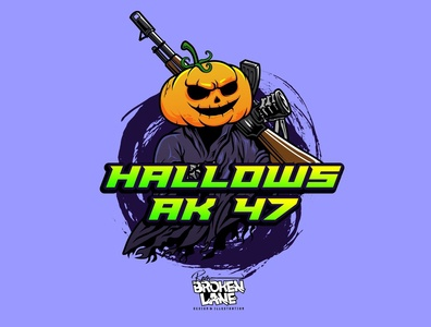 HALLOWS AK 47 vectorart logo mascot character tshirtdesign digitalart illustration