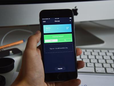 Glances interaction gradient theme dark iphone app ios mac ux ui card weather