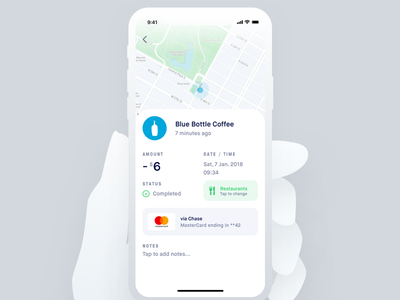 Transaction Detail finance map freelance product clean card financial app ux x iphone ui