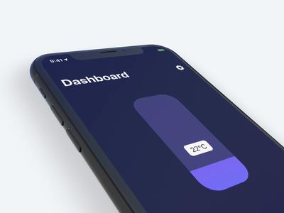 iOS Slider Control on Dark Mode dashboard smart home dark clean interaction freelance 2019 ios ux ui touch slider