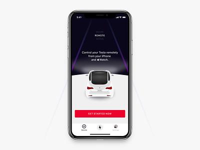 Tesla x Remote Control app iphone ui auto smart app interface clean keyfob freelance ios13 ux smart car remote mobile ios tesla