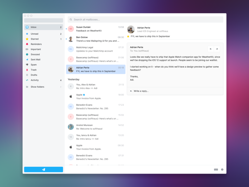 Email app on macOS app interface mode dark light simple things minimal clean os mac ux ui design email