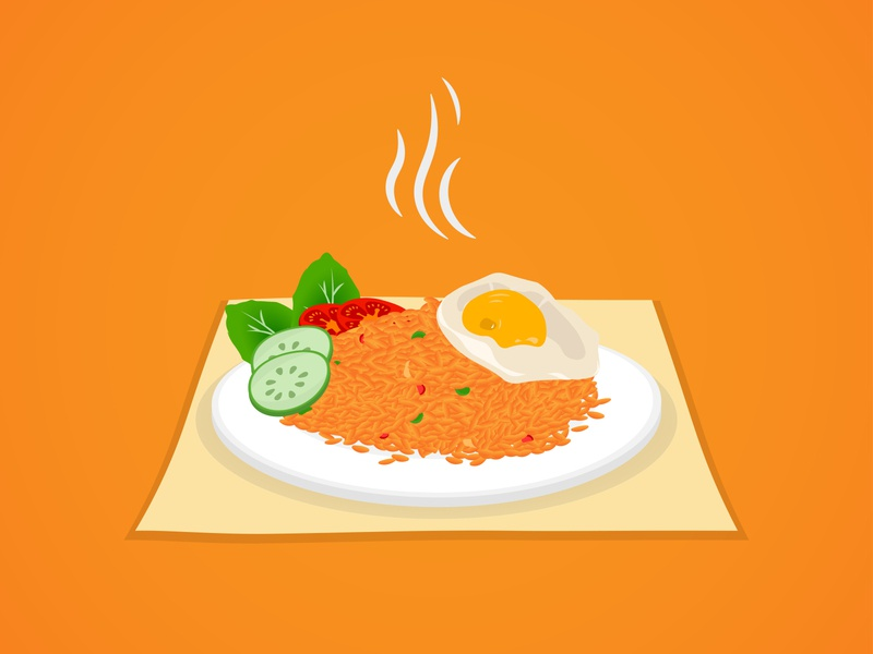 Fried Rice, Indonesian Food design vector tomatoes cucumber fried egg fried rice rice food and drink food adobe illustrator branding flatdesign flat illustration