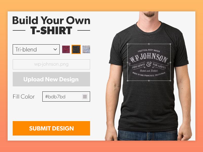 Ui element challenge day 015 tshirt maker by james for T shirt design maker website