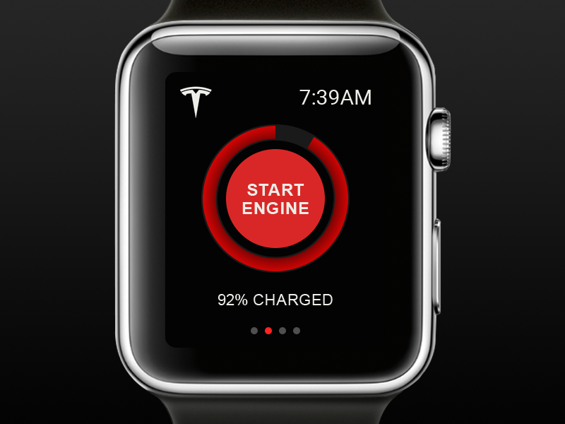 UI Element Challenge -- Day 046 Start Engine apple watch start engine tesla apple daily challenge ui design ui