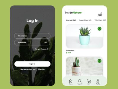 Inside Nature marketplace plants plant ux app ui