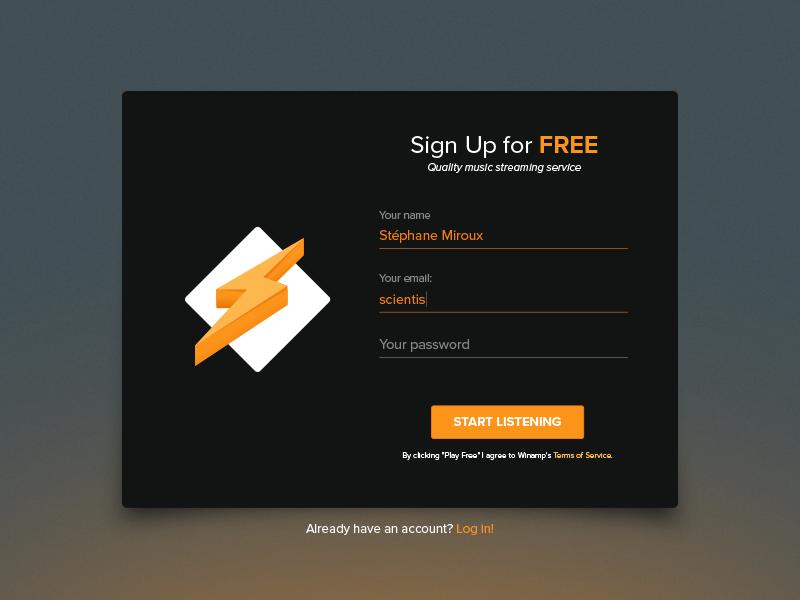 Sign Up Winamp - Daily UI #001 001 modal daily ui winamp sign up ux interface ui