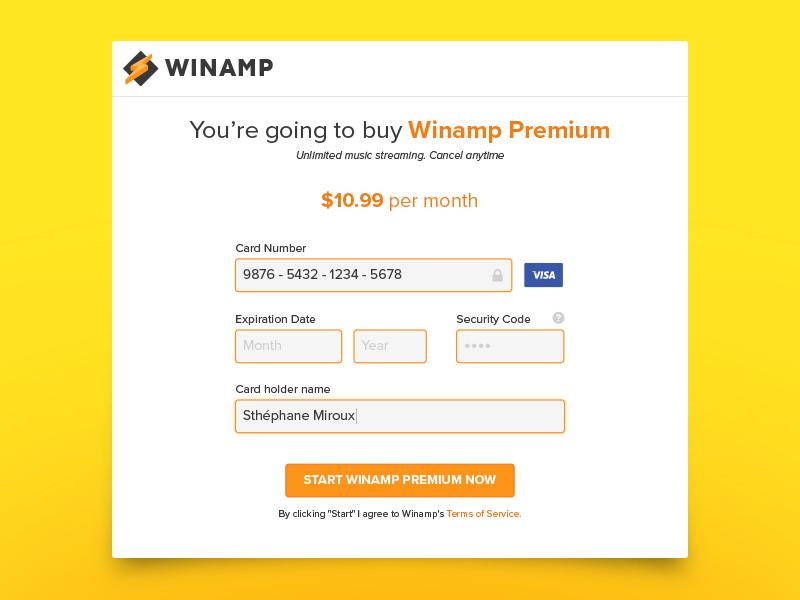 Winamp Payment - Daily UI #002 002 winamp payment daily ui ui checkout