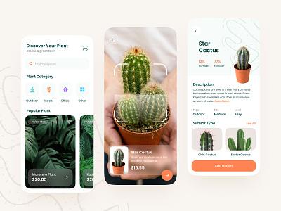 Plants Shop Mobile App explorations uiuxdesign nature simple cactus mobile app scanner plants shop ui uidesigns uxdesign mobile ios exploration design app uidesign clean