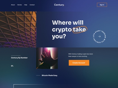 Century Crypto Landing Page clean simple travel bitcoins trader home page exploration landing page typography website unique uxdesign uidesign uiux darkmode darktheme trading cryptocurrency ethereum