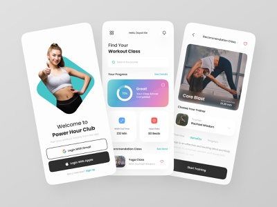 Workout App gym activity sport weight personal trainer fitness yoga healthy course workout uidesigns ios app simple mobile design uxdesign exploration uidesign clean