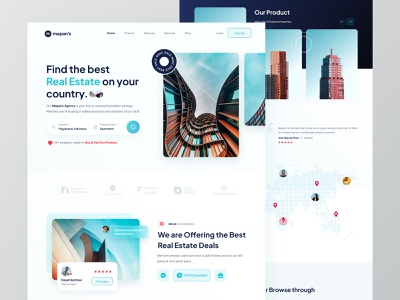 Mapans's - Real Estate Landing Page landing page property finder architecture design ui clean web design exploration real estate agency uxdesign simple website apartments homepage uidesign real estate