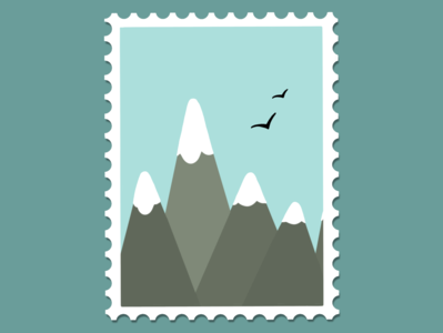 blue mountains stamp cold snow mountains flat minimal illustration design