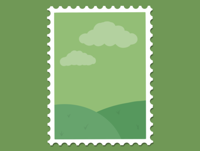 green plains stamp hills green flat minimal illustration design