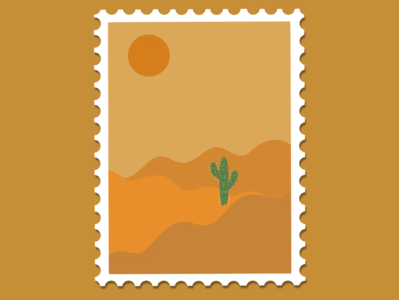 yellow desert stamp cactus sun hot desert flat minimal illustration design