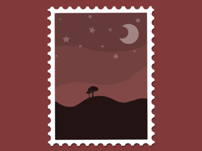 red night sky stamp silhouette moon night red flat minimal illustration design