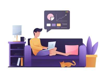 Working From Home, Work From Home Illustration business job wfh laptop cat pet homepage stay stayhome covid19 home remotework vector graphicdesign graphics illustrator workfromhome work adobe illustrator illustration