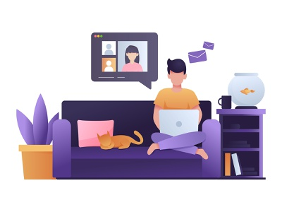 Work From Home vector illustrator pandemic job covid19 stay home stayhome home pet socialmedia laptop people worker remote work remotework workfromhome work design adobe illustrator illustration