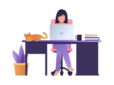 Work From Home pandemic women workspace plant pet laptop remote remoteworking coronavirus covid-19 illustrator stay home stay stayhome vector workfromhome work design adobe illustrator illustration