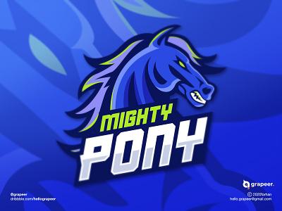 Mighty Pony Logo design concept. blue horse pony team teamlogo brand logodesigner illustration brand streamerlogo esportlogo esport mascot mascotlogo logodesign logodesigner designer logo designer adobe illustrator