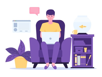 Man sitting on chair with laptop working from home purple yellow illustrator pet chair sitting covid illustration art flat vector working home man laptop workfromhome work illustration adobe illustrator