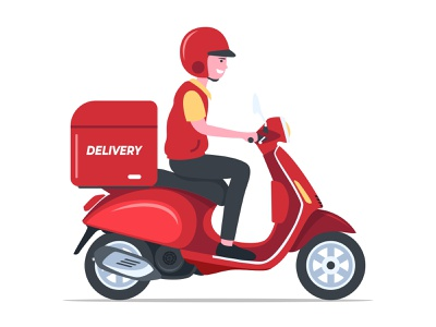 Deliveryman with scooter delivery service motorbike motorcycle box red scooter deliveryman delivery flat illustration flatdesign vector illustration art illustration illustrator adobe illustrator