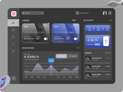 Card Management Dashboard finace dashboard design dashboard app dashboard cards banking app bank card bank app bank design