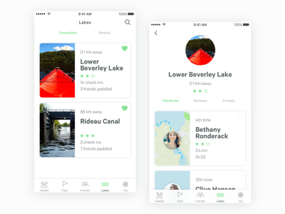 Paddling app - Lakes & Lake Detail outdoors minimal clean list detail mobile ios paddle lakes